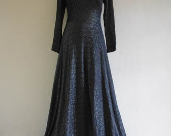 70s Celestial maxi dress - pewter maxi dress - lurex, lame - silver stargazing dress - Game of Thrones dress - L, XL
