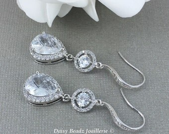 Dangle Earrings, Statement Jewelry, CZ Earrings, Bridal Jewelry, Wedding Gift, Bridal Earrings, Cubic Zirconia Earrings, Bridesmaid Gift