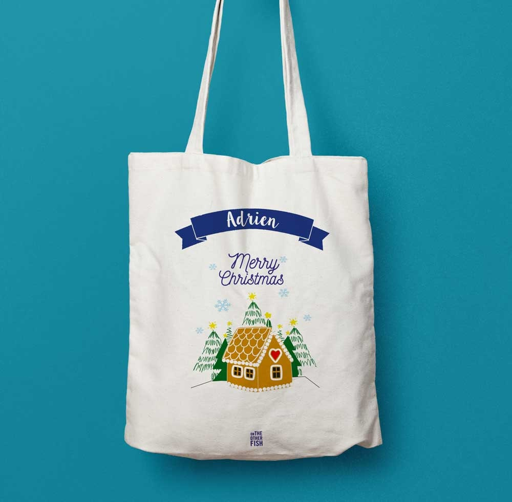 sac en coton merry christmas sac cabas cadeau p re no l sac. Black Bedroom Furniture Sets. Home Design Ideas