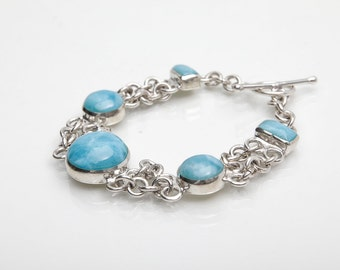 Larimar Bracelet, Blue Haze, Larimar Stones Jewelry from DR, Check Available Sizes
