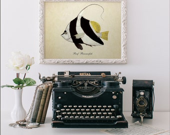Botanical Print, Tropical Fish Print, Reef Bannerfish Print, Vintage Natural History Art, Nautical Art, Reef Bannerfish Reproduction SL011