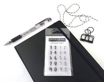 """Large Numbers - 2x3"""" Clear Stamp Kit for your Journal or Planner / Mini Stamp Kit / 2 Handwritten Fonts"""