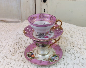 2 old ViNtAgE teacup & Saucer sEt * Wales MIJ / Royal Sealy portrait ROSEs * PiNk * coffee