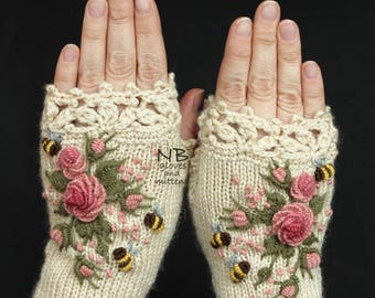 Knitted Fingerless Gloves,Ivory, Roses, Rose, Pastel Pink, Bees, Clothing And Accessories, Gloves & Mittens, Gift Ideas, For Her