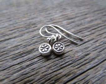 Silver Flower Earrings, Hill Tribe Silver Earrings, Flower Dangle Earring, Drop Earring, Flower Jewelry, Flower Charm Earring, Teen Earrings