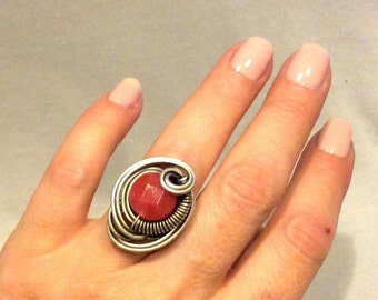 Sunstone Ring, Wire Wrapped Ring, Sunstone Jewelry, Silver Gemstone Ring, Statement Ring, Gemstone Ring, Wire Wrapped Jewelry, Gift For Her