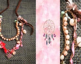 Bohemian Necklace, Leather necklace, Gem Necklace, Necklaces, Free People Necklace, Turquoise  Necklace, Handmade Necklace, Gypsy,  Feminine