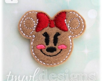 Mrs Gingerbread Cookie Mouse Head Feltie Digital Design File - 1.75""