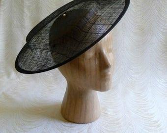 Large Black Saucer Hat Base Sinamay Fascinator Hat Form for DIY Hat Millinery Supply Round Shape