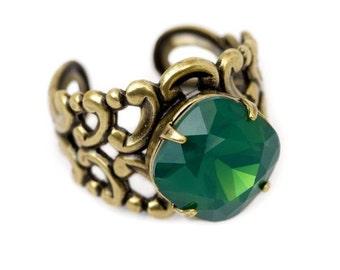 "Handmade ""Boho Chic"" Chunky Stone Ring in Green"