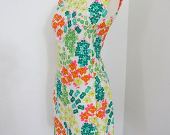 1960s Parnes Feinstein Bright Floral Dress & Matching Short-sleeved Jacket with Multicolored Rhinestone Buttons
