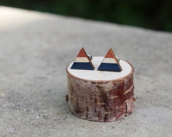 Navy and Copper Wood Geometric Earrings // Triangle Earrings // Copper Earrings // Color Block Earrings // Hand Painted Studs
