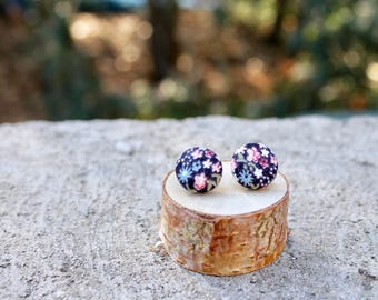 Tiny Floral Fabric Button Earrings // Black Multi // Retro Earrings // Vintage Earrings // Covered Buttons // Studs // Colorful Earrings