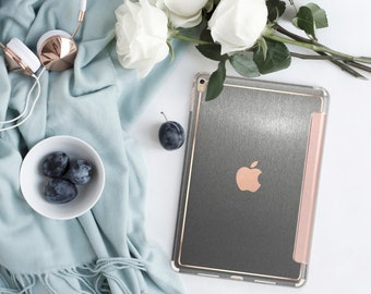 Platinum Edition Brushed Steel with Rose Gold Detailing Hybrid Smart Cover Hard Case for the iPad Air 2, iPad mini 4 , iPad Pro