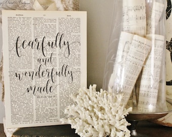 Fearfully and Wonderfully Made Wood Sign Vintage Dictionary Bible Verse Art Print Farmhouse Decor Wedding Scripture Fixer Upper Decor