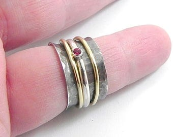 Silver band ring with 3 spinner rings, hammered ring, personalized spinner ring, silver swarovski ring, band ring