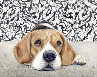 Beagle Watercolor Painting, Animal Art, Beagle Painting, Beagle Watercolor, Beagle Art, Dog Art, Beagle, Beagle Decor, Beagle Print, Art