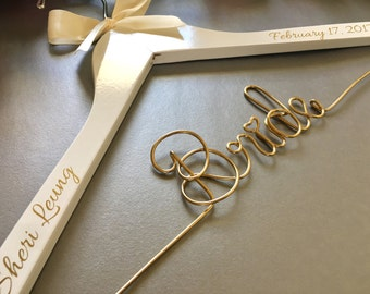FAST SHIPPING Personalize Bridal Hanger, Wedding Gown Hanger, Name hanger, One Line basic Hanger, 30+ Ribbon Color to Choose from.