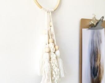 Neutral wall hanging, small dreamcatcher, boho dream catcher, tassel wall hanging, boho wall hanging, boho nursery, nursery decor