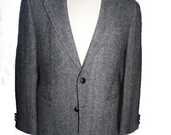Irish wool Tweed Sportcoat Jacket 38 Short Black gray herringbone