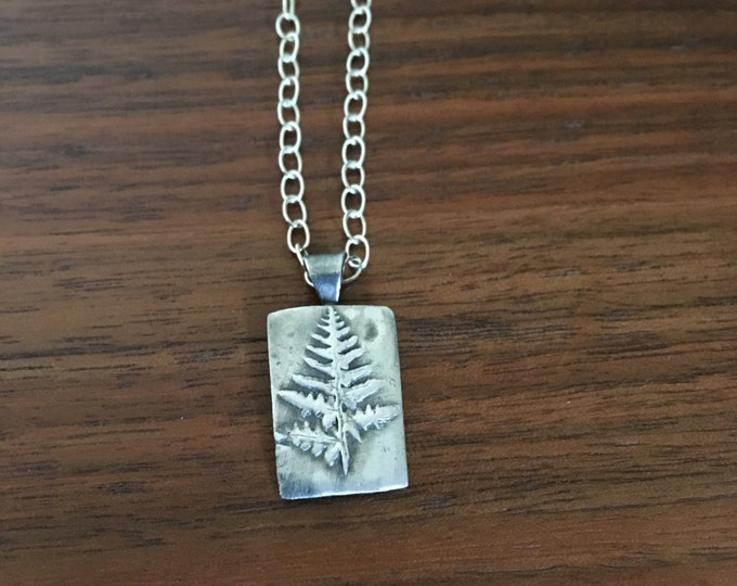 Bracken Fern Fine Silver Pendant / Necklace - Handcrafted using actual fern from Willamette National Forest - Wild Grace Jewelry