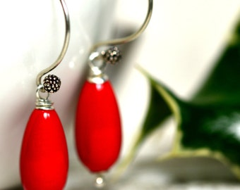 SALE - Red Earrings, Coral Earrings, Statement Earrings, Red Coral, Sterling Silver Earrings, Gift for Her
