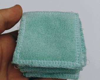 reusable make up pads // terry cloth // available in white and mint green