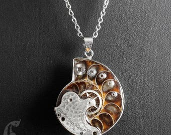 Steampunk Industrial Iridescent Ammonite Fossil Pendant Necklace with Antique Guilloche Etched Silver Pocket Watch Parts and Gears Cogs