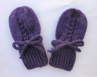 Purple Baby Mittens - Thumbless Hand Knit Acrylic Gloves Fits 0 to 12 Months