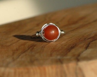 Handmade Carnelian Ring, Wrapped Wire Ring, Sterling Silver, Copper, Stainless Steel Ring, gemstone jewelry gift for her, Arcturus Creations