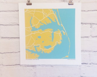 Outer Banks North Carolina Map Print