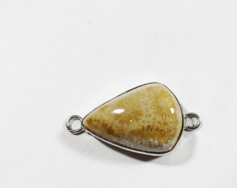 Natural Fossil Coral Gemstone Link, Sterling Silver Jewelry Connector Link Component, 31x16mm, Jewelry Bracelet Component, Fossil Coral Link