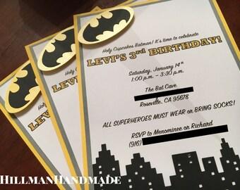 Batman Invitations, Batman Invites, Batman Birthday Invitations, Superhero Invites, Superhero Birthday Invitations, Vintage Batman Invites