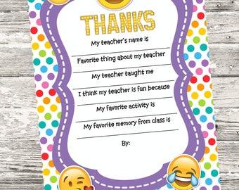 INSTANT DOWNLOAD Emoji Teacher Questionnaire Printable Digital