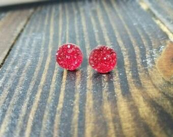 Red Chunky Faux Druzy Stud Earrings - 12mm