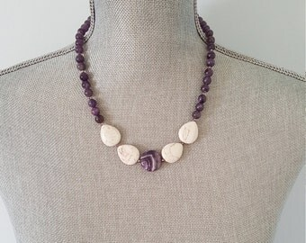 Semi precious Amethyst beaded necklace