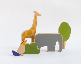 Wooden animals toy set, safari wooden toy animals