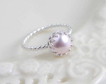 June Birthday ~ Pearl Ring ~ Blush Pink ~ Sterling Silver Crown Bezel with Twisted Ring ~ Gift for Her ~ Simple Modern Jewelry by PetitBlue