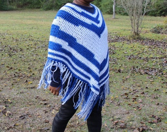 Blue and White Granny Square Crochet Poncho - Handmade
