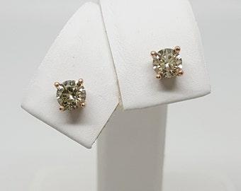 14kt Rose Gold Green Yellow Natural Diamond .60ctw Stud Earrings