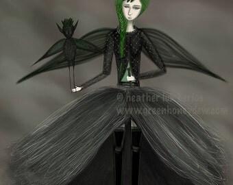 Lady Vesper - Limited Edition Fine Art Print - Digital Painting - Fantasy, Dark, Black, Bat, Green, Vespertilio, Goth