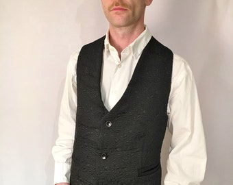 Black Beauty Waistcoat UK Size XL - black brocade vintage cotton formal vest with black satin back handmade by The Emperor's Old Clothes