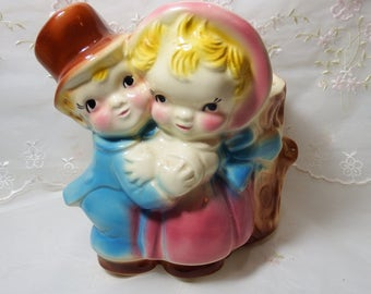 Vintage 1950s, Figurine Vase, Pink, Blue, Couple in Love