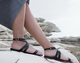 Leather Greek Sandals, Leather sandals, Women's Karis crossover minimalist slides. FREE SHIPPING