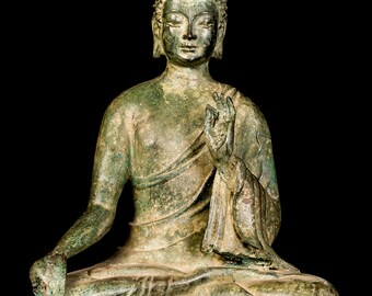 "19th Century Antique Chinese Teaching Buddha Statue - 37cm/15"""