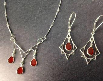 Art Deco Necklace - Art Deco Jewelry - Carnelian necklace - Carnelian Jewelry - Sterling Necklace - Sterling Jewelry set - Deco Flame