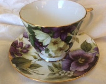 Floral Duchess Fine Bone China Tea Cup wrapped in cloth and ribbon
