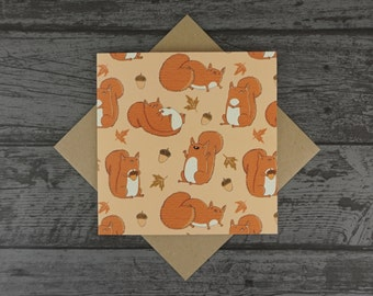 Red Squirrels Cute Fat Squirrel Patterned Greetings Birthday / Anniversary / Mothers Day / Fathers Day / Valentines Day Card - Blank inside