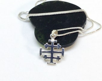Sterling Silver Jerusalem Cross Necklace Silver Crusaders Cross Pendant Heraldic Cross Charm Medieval Jewelry