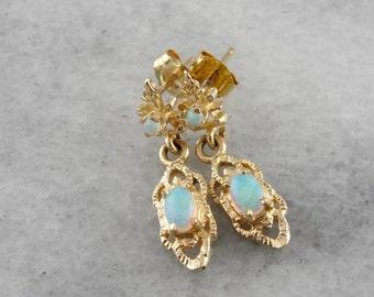 Ornate Opal Drop Earrings in Yellow Gold R19HVM-N